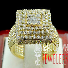 LADIES WOMEN'S YELLOW GOLD OVER SILVER LAB DIAMOND ENGAGEMENT WEDDING RING BAND