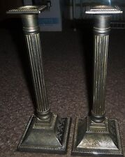 VINTAGE TALL SILVER TONE METAL 11 inch tall CANDLE STICKS VELVET BOTTOM