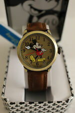 New Disney Mickey mouse,MEN Antique gold leather watch, new/warranty + FREE GIFT