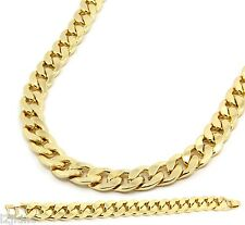 Gold Finish Thick 14mm Hip Hop Chain & Bracelet Mens Miami Cuban Necklace 30""