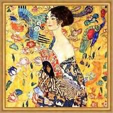 Dame mit Fächer Jugendstil Erotik Ornamentik golden LW Gustav Klimt A1 003