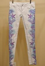 Aeropostale Size 1/2 Reg White Palm Tree Skinny Jeans Cute Summer Hippie Boho