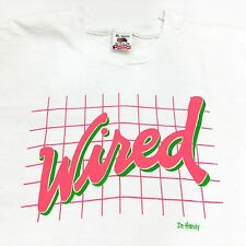 Vintage Wired T Shirt 90s XL White Neon Logo 100% Cotton USA Dr. Handy