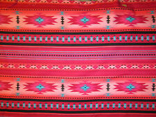 Navajo Native American Pink Teal Border Print Cotton Fabric BTHY