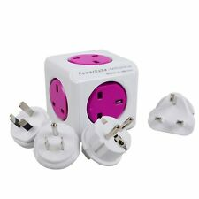Allocacoc PowerCube 5 Outlets Ports & 4 Travel Plugs Wall Adapter Purple