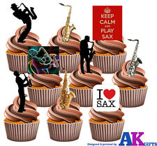 Saxophone Party Pack 36 Edible Stand Up Cup Cake Toppers Blues Jazz Decorations
