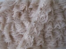 Ruffled Lace Trim, 1 1/4 Inch Wide, Assorted Colors, 5 YARDS, Raschel Lace