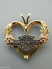 Black Hills Tri Color 10K Gold Harley Davidson Motor Cycles Heart Shaped Pendant