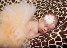 NEW BABY GIRL NEWBORN  Tulle TUTU Headband PHOTO Accessories CREAM OUTFIT 0/6M