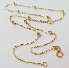 New Authentic 18K Yellow Gold 3mm Bead with O Link Chain Necklace 45cm Length