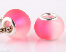 5pcs SILVER MURANO pink jelly spacer beads fit European Charm Bracelet DIY AB934
