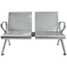 2-Seat Airport Office Reception Salon Bench Waiting Room Chair Silvery New