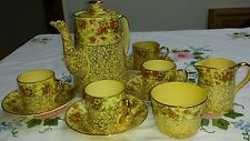 Royal Winton Grimwades Coffee Set Yellow Glaze Gold & Hand Painted Flowers