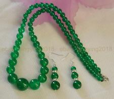 "6-14mm Natural Green Jade Round Beads Necklace 18"" Earrings Jewelry Set"