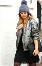 ISABEL MARANT for H&M Reversible Silk Silver Bomber Jacket NEW Size 38 UK12