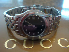Gucci 5500L Ladies Stainless Watch with Diamond Hour Markers Good Condition 27mm