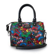 Marvel Comic Characters Print Faux Leather Purse Satchel Bag by Loungefly