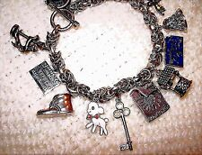 Vintage BYZANTINE 1950-60 Sterling Silver CHARM BRACELET & Charms,Movers, LOADED