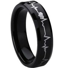 6MM Size 5-12 Black Heartbeats Cardiogram Wedding Engagement Ring Set Band Heart