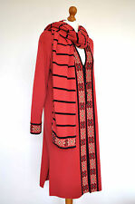 Vintage Coral Pink Maxi Cardigan Woollen Coat and Scarf Country Casuals Size M