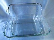 Set Of Three (3) Clear Glass Pyrex Cake Lasagna Baking Dishes ~EUC~
