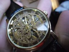 super large gents skeleton  hand wind watch