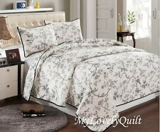 Black White French Garden Toile Quilted BEDSPREAD Quilt 3pc Set QUEEN-New