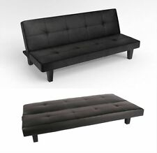 Delicieux Sienna Black Faux Leather Click Clack 3 Seater Small Double Sofa Bed