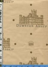 Fabric Andover DOWNTON ABBEY LOGO castle on parchment color background BTHY