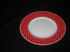 222 FIFTH FLORAL DOT - RED - SALAD PLATES - SET OF 4 - NEW