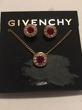 $48 Givenchy Gold Tone Red Crystal Earring and Necklace Set F 11 201