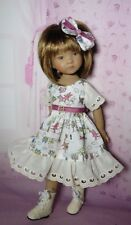 PIXIES HAND MADE: dress/bow: FITS 13 INCH DOLLS LIKE LITTLE DARLING/MINOUCHE