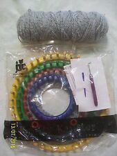 Provo Craft Knifty Knitter Set of 4 Looms, Pick Hook, Hat Directions & Grey Yarn