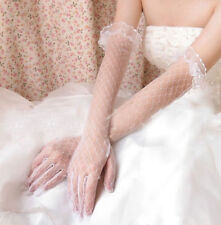 1 Pr. Long Wedding Party Prom Lt Ivory Lace Gloves w Ruffle Top