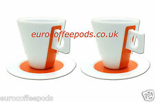 Nescafé Dolce Gusto Lungo Cups Porcelain, 2 Sets, Orange Coffee Cups & Saucers
