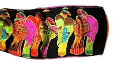 New 100% Silk Animal Scarf Black Parrot Pattern Long Neck Scarves Shawl Wrap