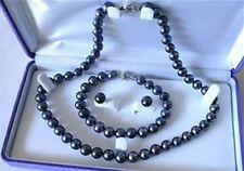7-7.5mm Schwarz Süßwasser-Zuchtperlen-Halsketten -Armband-Ohrring -Set