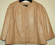 LADIES M&S AUTOGRAPH GENUINE LUXURY LEATHER BOXY BIKER JACKET SIZE 16 TAN BNWT