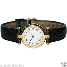 CARTIER 881002 Vendome 18K Gold & Leather Strap Ladies Swiss Made Watch PreOwned