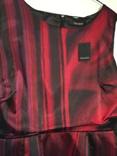 TAHARI Red Black Cocktail Silky Dress NEW 12 NWT $198
