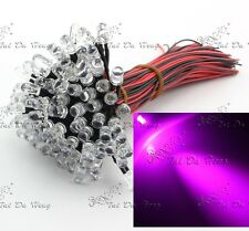 Wholesale 20pcs wired 5mm Pink Clear LEDs Light Lamp Bulb 20cm Pre-wired 12V DC