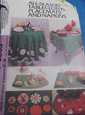 VINTAGE SEWING PATTERN M3863 ALL SEASON TABLECLOTHES PLACEMATS NAPKINS UNCUT