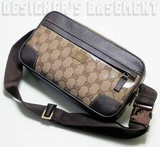GUCCI ebony & beige Crystal GG JOY Leather trim Belted FANNY Bag NWT Authentic!