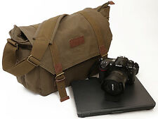 Courser Canvas XL Shoulder Bag For DSLR Cameras With Laptop Compartment - Brown