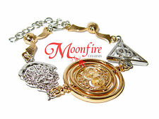 HARRY POTTER DEATHLY HALLOWS TIME TURNER GOLDEN SNITCH HOGWARTS CHARM BRACELET