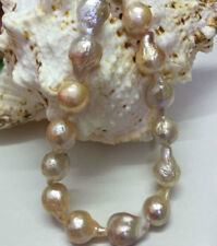 Big 12-15mm Natural South Sea Baroque Purple Akoya Pearl Necklace 18""