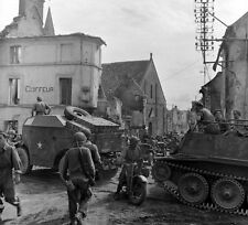 WW2 Photo WWII Armor on French Street Scene Falaise Pocket World War Two / 2408