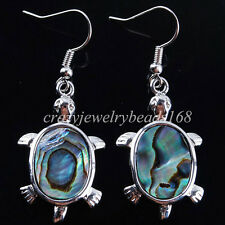New Zelanian Abalone Shell Pearl Turtle Bead Dangle Earrings Pair Charm R623