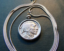 "Vintage Original '37 Philadelphia Buffalo Nickel on a 30"" 925 Silver Snake Chain"
