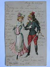 ANCIENNE CPA CARTE POSTALE CHROMO ROMANCE AVEC MILITAIRE CAVALIER DRAGON 1901